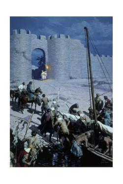 Painting Shows Byzantine Soldiers Sneaking into Walled City of Nicaea by Tom Lovell