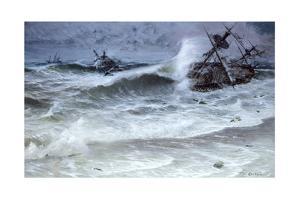 The 1715 Spanish Plate Fleet Wrecks on Floridian Reefs in a Hurricane by Tom Lovell