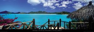Bay View and Straw Umbrella, Coco Bay, Caribbean by Tom Mackie