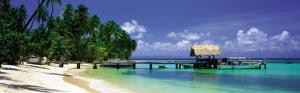 Beach and Jetty with Boat, Pigeon Point, Tobago, Caribbean by Tom Mackie
