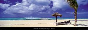 Beach with Sunloungers, Caribbean by Tom Mackie