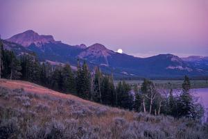 The Full Moon Above Yellowstone Lake and Colter Peak by Tom Murphy