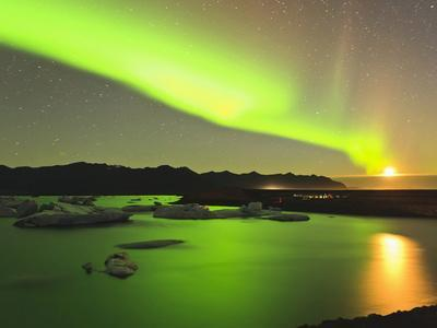 Aurora Borealis and Moon over Icebergs, Jokulsarlon and Breidamerkurjokull, Iceland