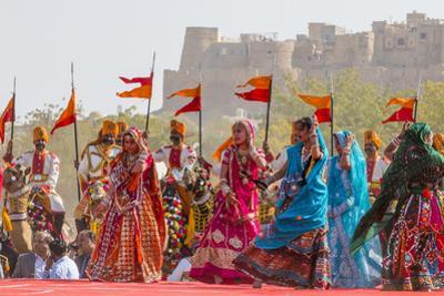 Dancing Women in Sari. Desert Festival. Jaisalmer. Rajasthan. India by Tom Norring
