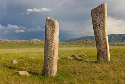 Deer stones with inscriptions, 1000 BC, Mongolia. by Tom Norring