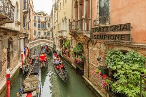 Gondola Traffic in Narrow Canal. Venice. Italy by Tom Norring