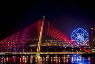 Illumination of Tran Thi Ly Bridge over the Han River, Tet Festival, New Year celebration, Vietnam. by Tom Norring