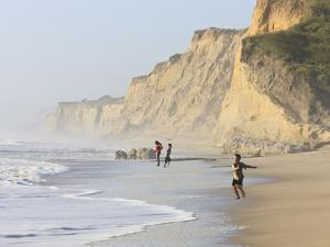 Kids Playing on Beach, Santa Cruz Coast, California, USA by Tom Norring