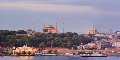 Panorama. Blue Mosque and Hagia Sophia on the Golden Horn. Istanbul. Turkey