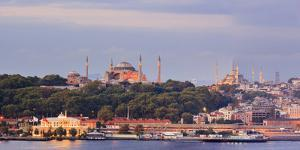 Panorama. Blue Mosque and Hagia Sophia on the Golden Horn. Istanbul. Turkey by Tom Norring
