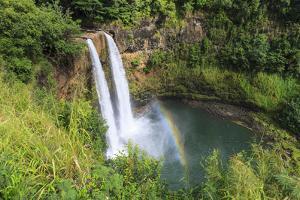 Rainbow in Wailua Falls, Kauai. Hawaii, Usa by Tom Norring