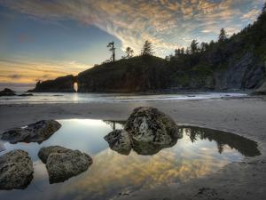 Sunset and Cloud Reflections, Olympic National Park, Washington, USA by Tom Norring