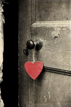 Antique Door with Red Heart by Tom Quartermaine