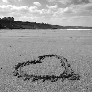 Heart on Beach BW by Tom Quartermaine