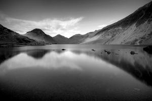 Lake and Mountains BW by Tom Quartermaine