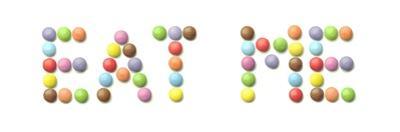 Rainbow Sweets Eat Me by Tom Quartermaine