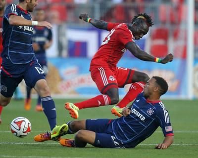 Aug 23, 2014 - MLS: Chicago Fire vs Toronto FC - Matt Watson, Dominic Oduro