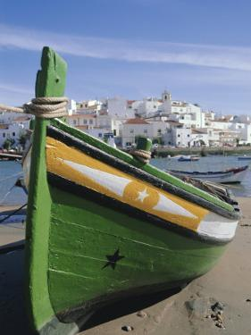 Fishing Boat and Village Near Portimac, Ferragudo, Algarve, Portugal, Europe by Tom Teegan