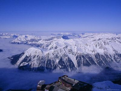 View of the Grand Massif and Ski Resort of Flaine, Aguile Du Midi, Chamonix, French Alps, France