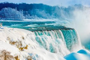 Niagara Falls in Winter, Niagara Falls State Park, New York, American Falls and Bridalveil Falls by Tom Till