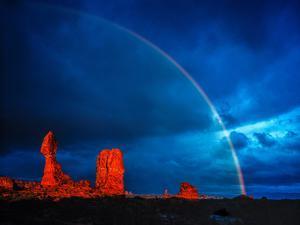 Rainbow at Balanced Rock, Arches National Park, Utah Stormlight at Sunset Entrada Sandstone by Tom Till