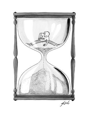A man stands in the top half of an hourglass trying to collect handfuls an... - New Yorker Cartoon