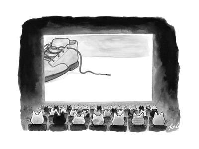 A movie theater audience of all cats watches a zoomed in shot of a sneaker... - New Yorker Cartoon