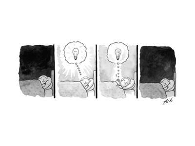 A panel depicts a sleeping man dreaming up a lightbulb, then pulling the l... - New Yorker Cartoon