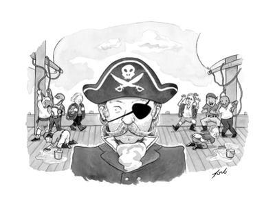 A pirate caption being mocked behind his back, but only on the side where ... - New Yorker Cartoon