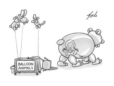 An unattended table has a sign that says balloon animals, and a balloon be? - New Yorker Cartoon
