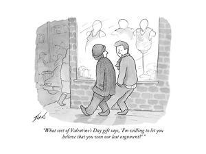 """""""What sort of Valentine's Day gift says, 'I'm willing to let you believe …"""" - Cartoon by Tom Toro"""
