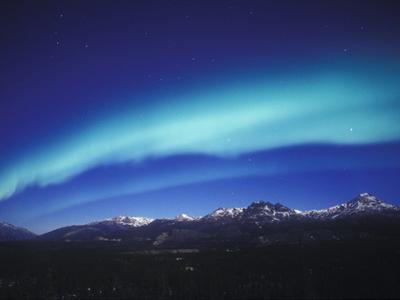 Aurora Borealis, Night Landscape Lit by a Full Moon, North America, Alaska, Alaska Range Mountains by Tom Walker
