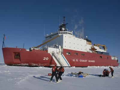 Scientists from the Uscg Icebreaker Healy, Wagb-20, Measuring Ice Thickness by Tom Walker