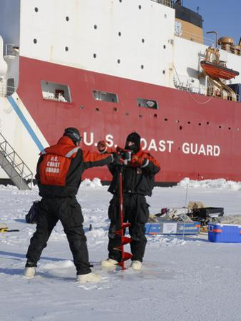 Scientists from the Uscg Icebreaker Healy, Wagb-20, Measuring Ice Thickness