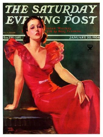"""""""Low-Cut Red Dress,"""" Saturday Evening Post Cover, January 20, 1934"""