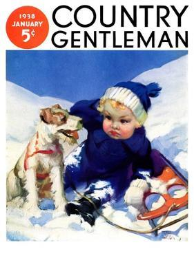 """""""Sledding Wipeout,"""" Country Gentleman Cover, January 1, 1938 by Tom Webb"""