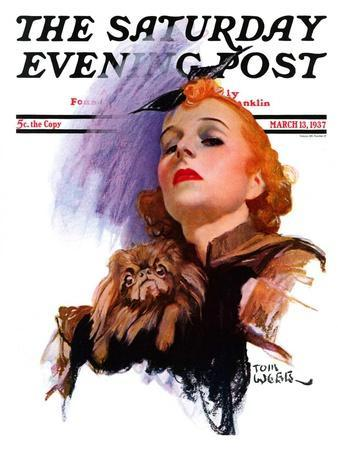 """""""Woman and Pekingese,"""" Saturday Evening Post Cover, March 13, 1937"""