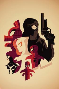 Web Warriors No.3 Cover, Featuring Spider-Ham, Spider-Man Noir, Spider-Gwen and More by Tom Whalen