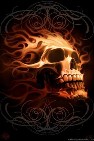Fire Skull by Tom Wood Poster by Tom Wood