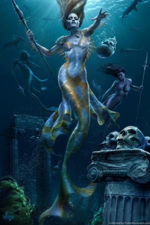 Mermaid Hunt by Tom Wood Poster by Tom Wood