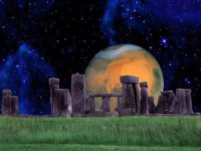 Stonehenge at Night with Mars in Background by Tomas del Amo