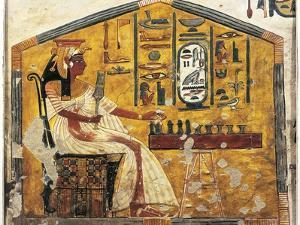 Tomb of Nefertari, Detail of Antechamber Frescoes, Queen Nefertari Playing Senet