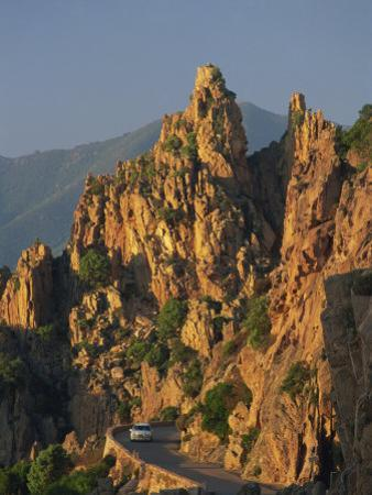 Calanche, White Granite Rocks, with Car on Road Below, Near Piana, Corsica, France, Europe