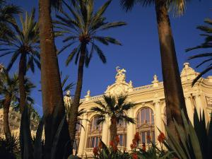 Casino Framed by Flowers and Palm Trees in Monte Carlo, Monaco, Europe by Tomlinson Ruth