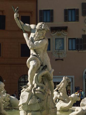 Detail of the 19th Century Fontana Del Nettuno, Piazza Navona, Rome, Lazio, Italy, Europe