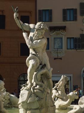 Detail of the 19th Century Fontana Del Nettuno, Piazza Navona, Rome, Lazio, Italy, Europe by Tomlinson Ruth
