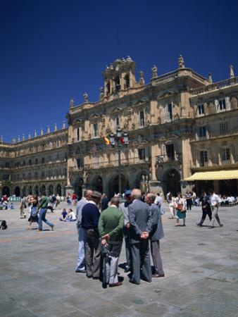 Men Talking in Front of the Town Hall in the Plaza Mayor, Salamanca, Castilla Y Leon, Spain