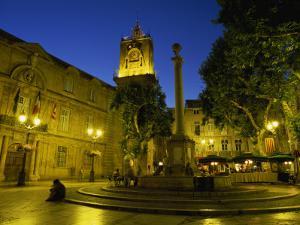 Place De L'Hotel De Ville after Dark, Aix-En-Provence, Bouches-Du-Rhone, Provence, France, Europe by Tomlinson Ruth