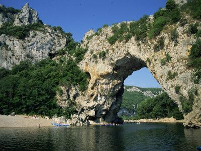 Pont D'Arc, Rock Arch over the Ardeche River, in the Ardeche Gorges, Rhone Alpes, France