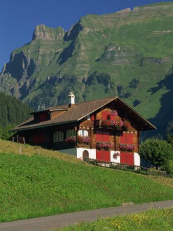 Typical Wooden Chalet with Colourful Shutters, Grindelwald, Bern, Switzerland, Europe